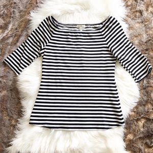 Montreal Navy Striped Off Shoulder Stretchy Tee